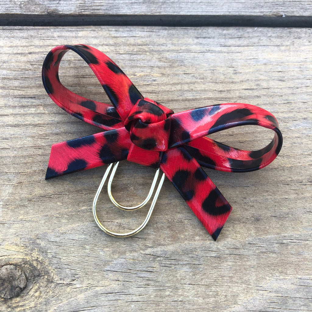LOLA BOW Red Leopard Bow Paperclip