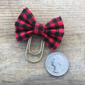 BOW CLIP Red Buffalo Check Bow Paperclip