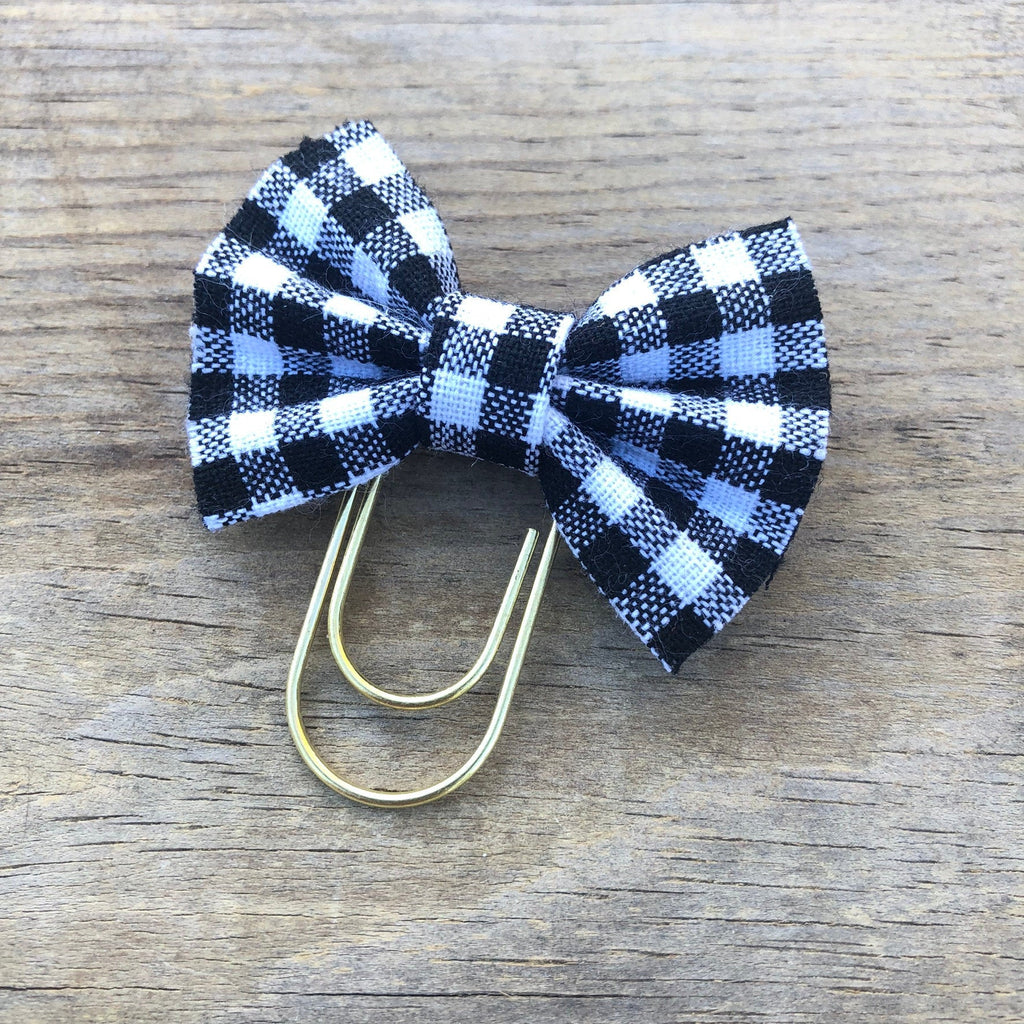 BOW CLIP White Buffalo Check Bow Paperclip