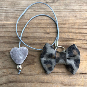 PLANNER TAIL or BOOKMARK MINI BOW Grey Leopard with Grey Velvet Heart