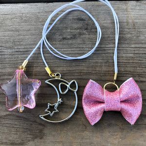 PLANNER TAIL or BOOKMARK LILY BOW Pink Glitter Bow with Moon Charm and Puffy Star