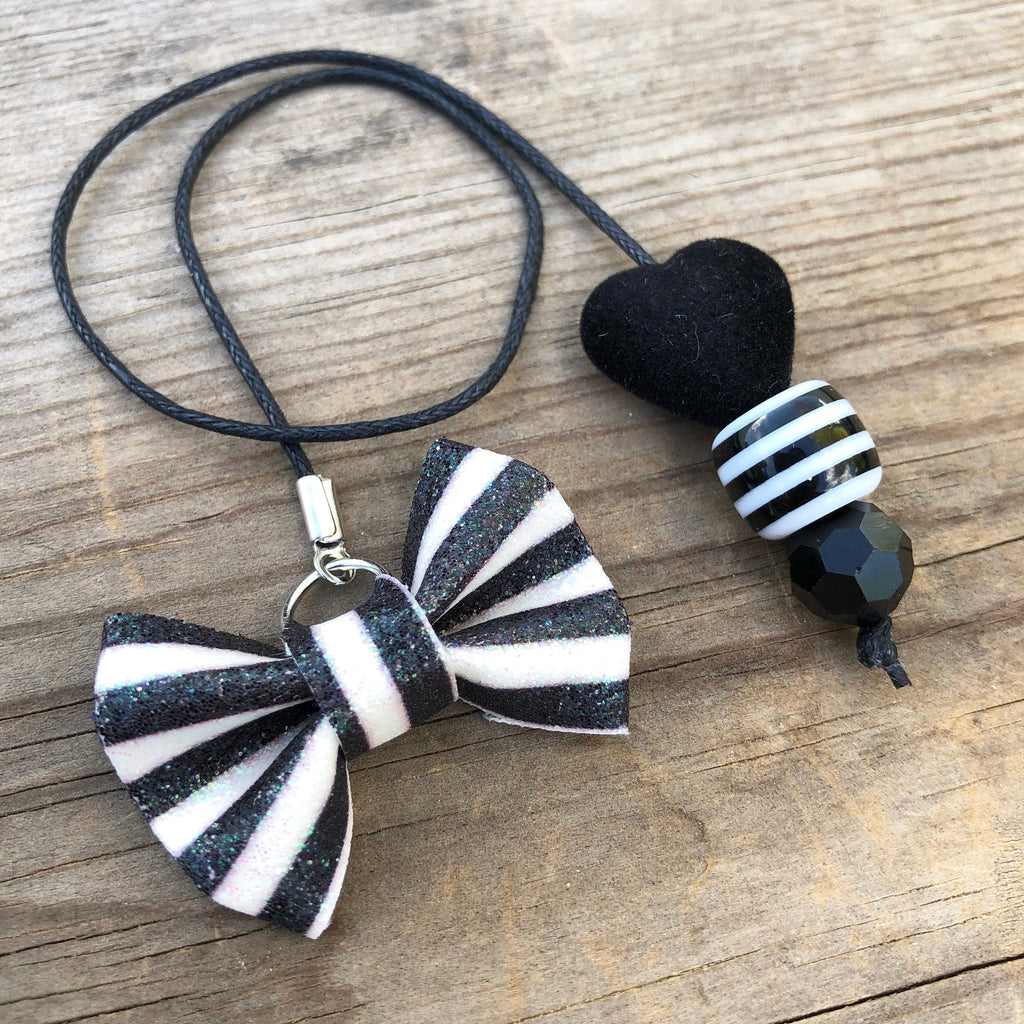 PLANNER TAIL or BOOKMARK MINI BOW Black and White Stripe Glitter Bow