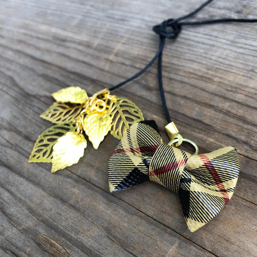 PLANNER TAIL or BOOKMARK MINI BOW Khaki Tartan Plaid with Metal Leaves