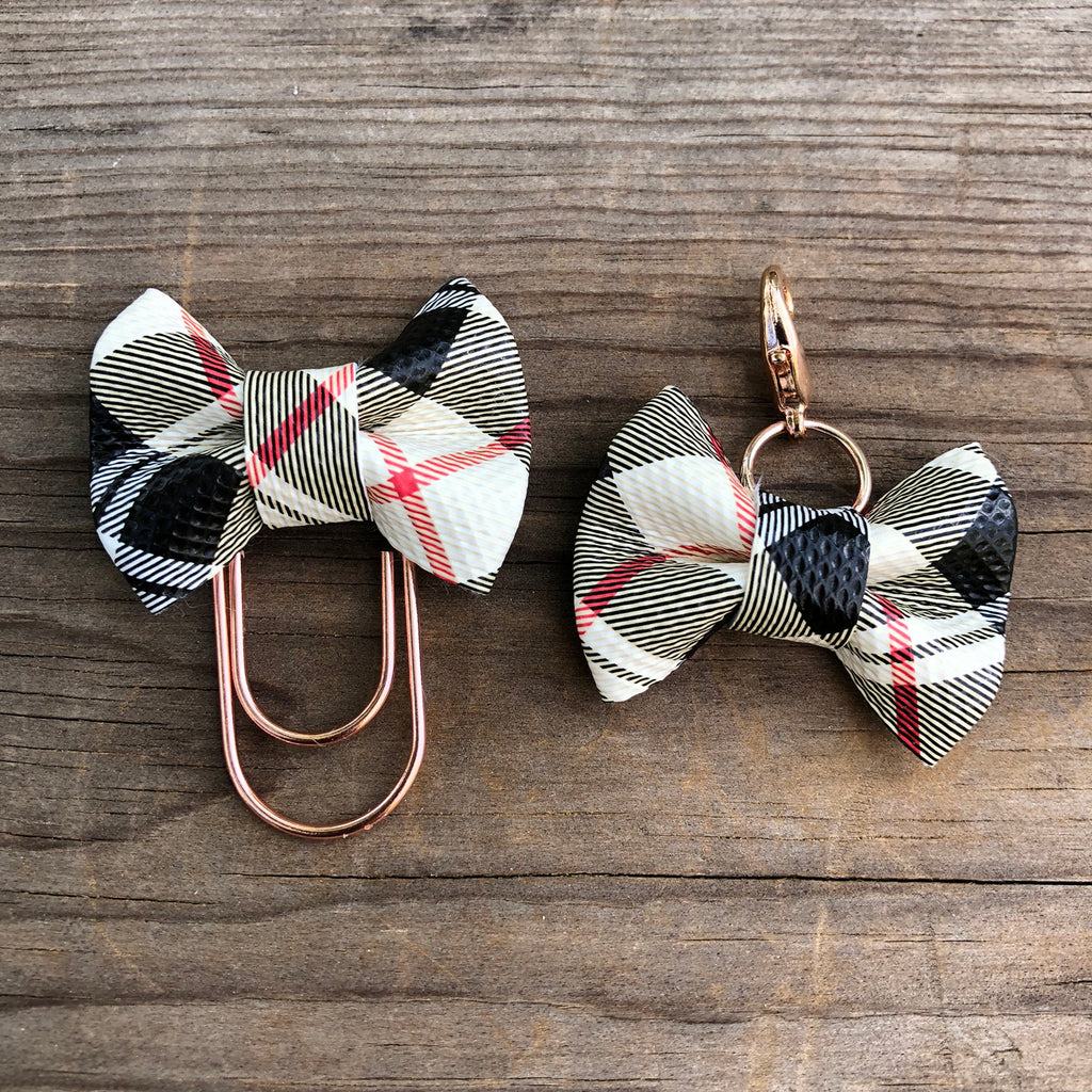 MINI BOW Ivory Tartan Plaid Bow Paperclip or Bow Clasp