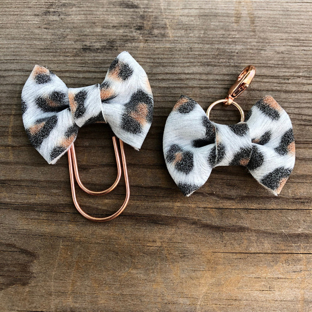 MINI BOW White Leopard Bow Paperclip or Bow Clasp