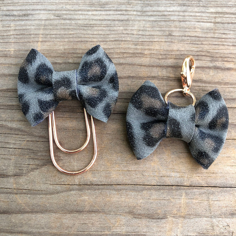 LILY BOW Grey Leopard Bow Paperclip or Bow Clasp