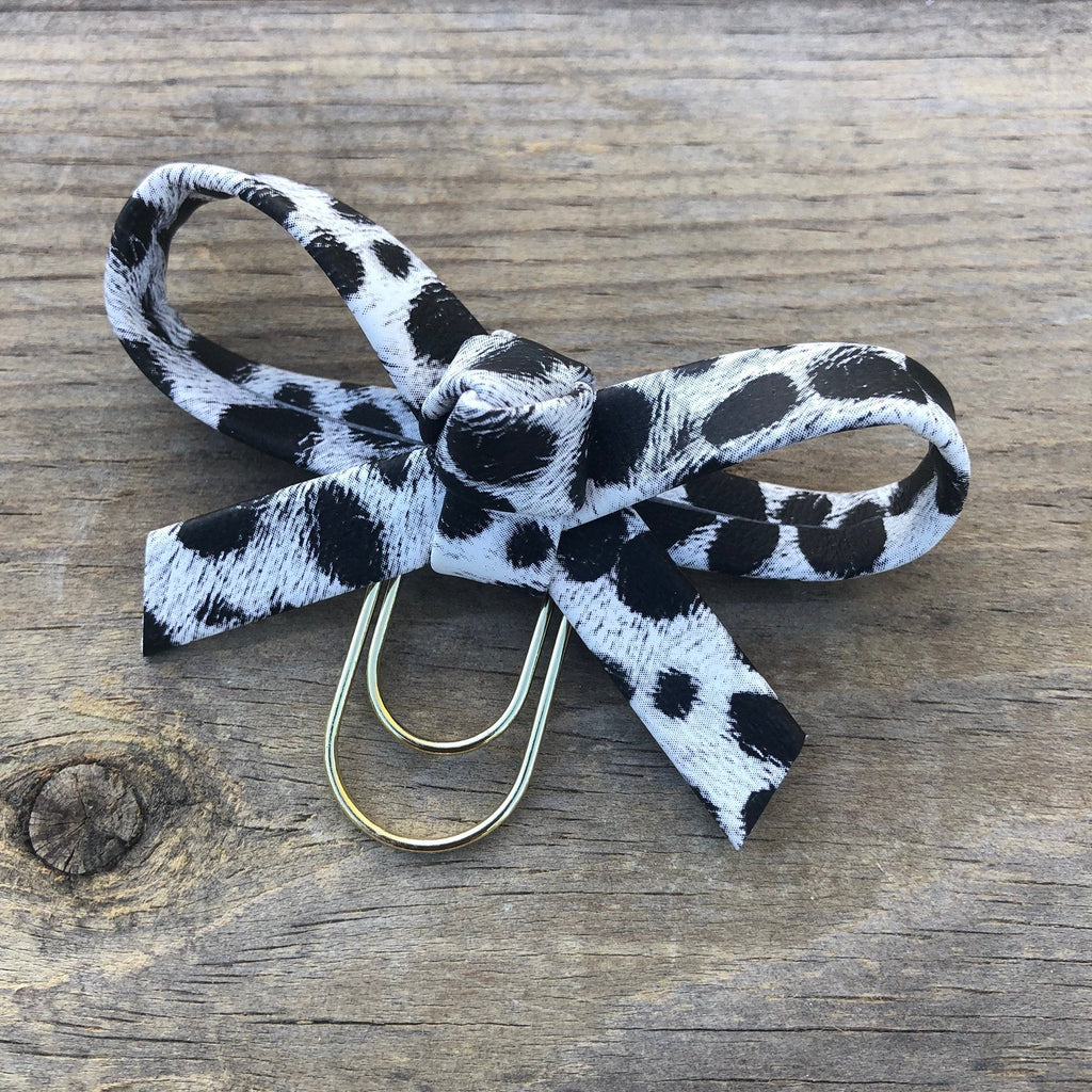 LOLA BOW White Leopard Bow Paperclip
