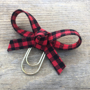 LOLA BOW Red Buffalo Check Bow Paperclip