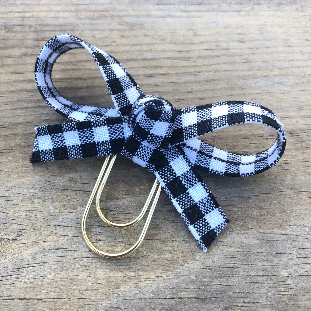 LOLA BOW White Buffalo Check Bow Paperclip