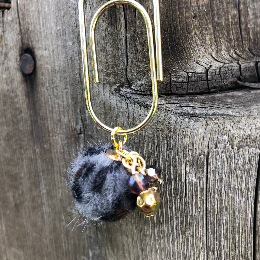 CHARM DANGLE Grey Leopard Furry Ball Paperclip