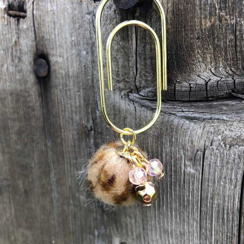 CHARM DANGLE Tan Leopard Furry Ball Paperclip