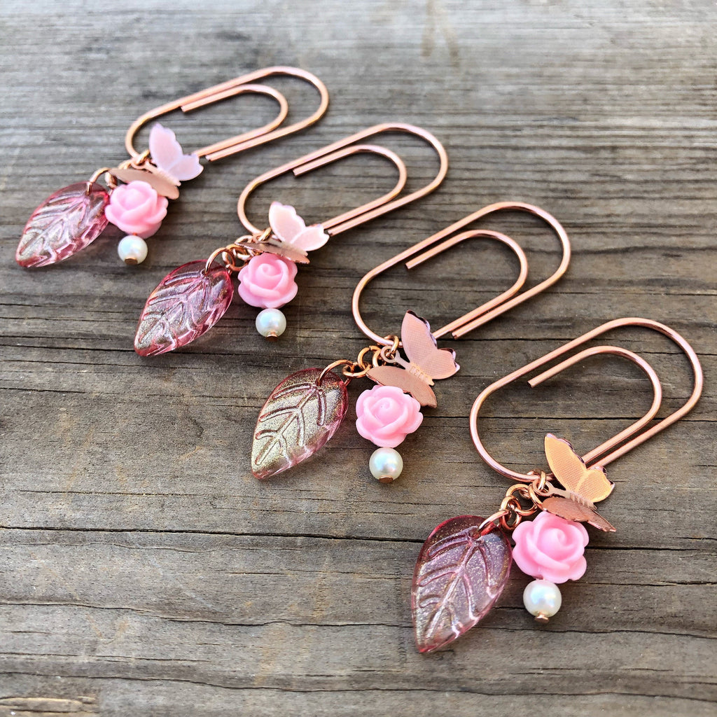 CHARM DANGLE Rose Gold Butterfly Glass Leaf and Pink Rose Paperclip