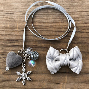 PLANNER TAIL or BOOKMARK LILY BOW Silver Cable Knit Bow