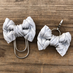 LILY BOW Silver Cable Knit Bow Paperclip or Bow Clasp