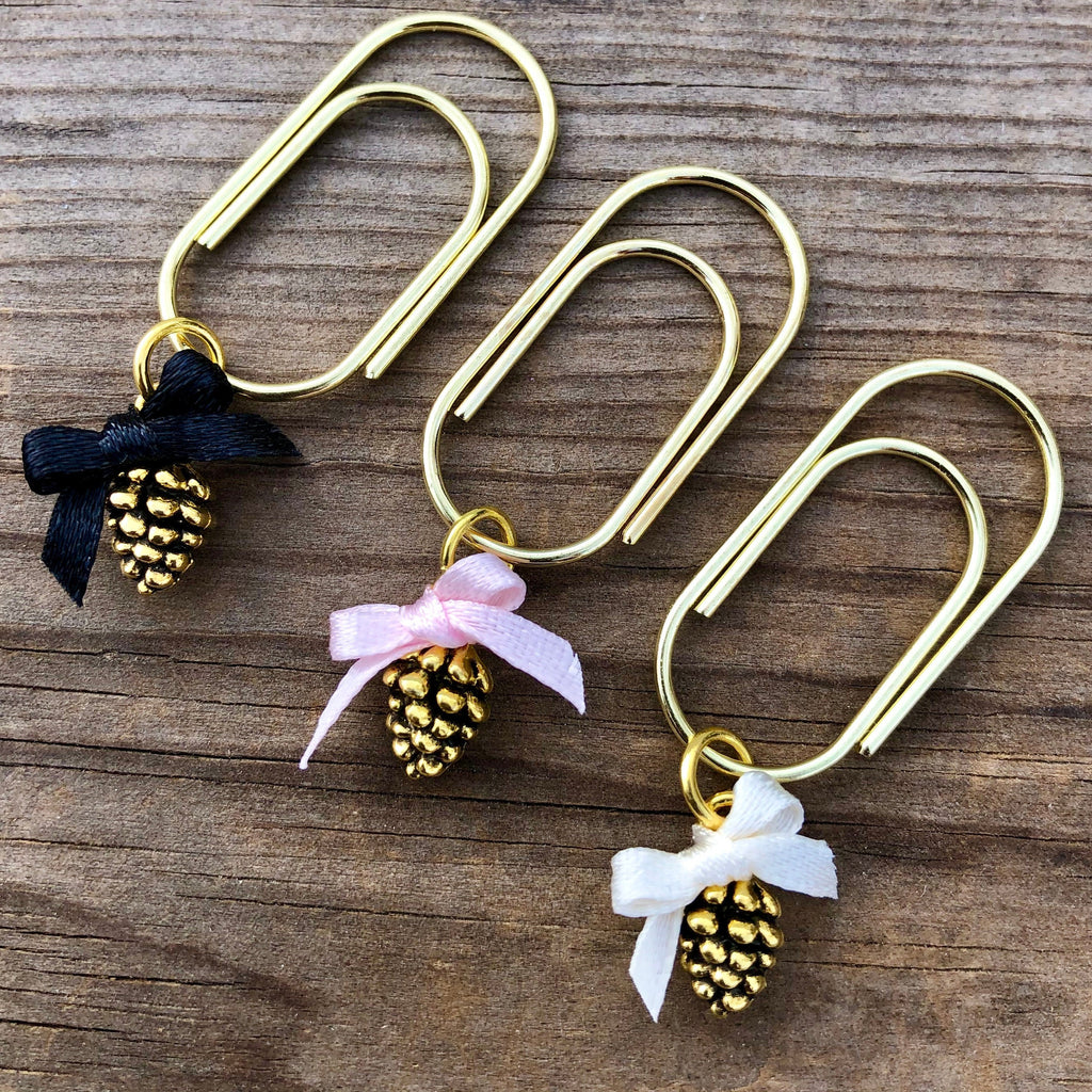 CHARM DANGLE  Tiny Gold Pine Cone with Bow Dangle Paperclip