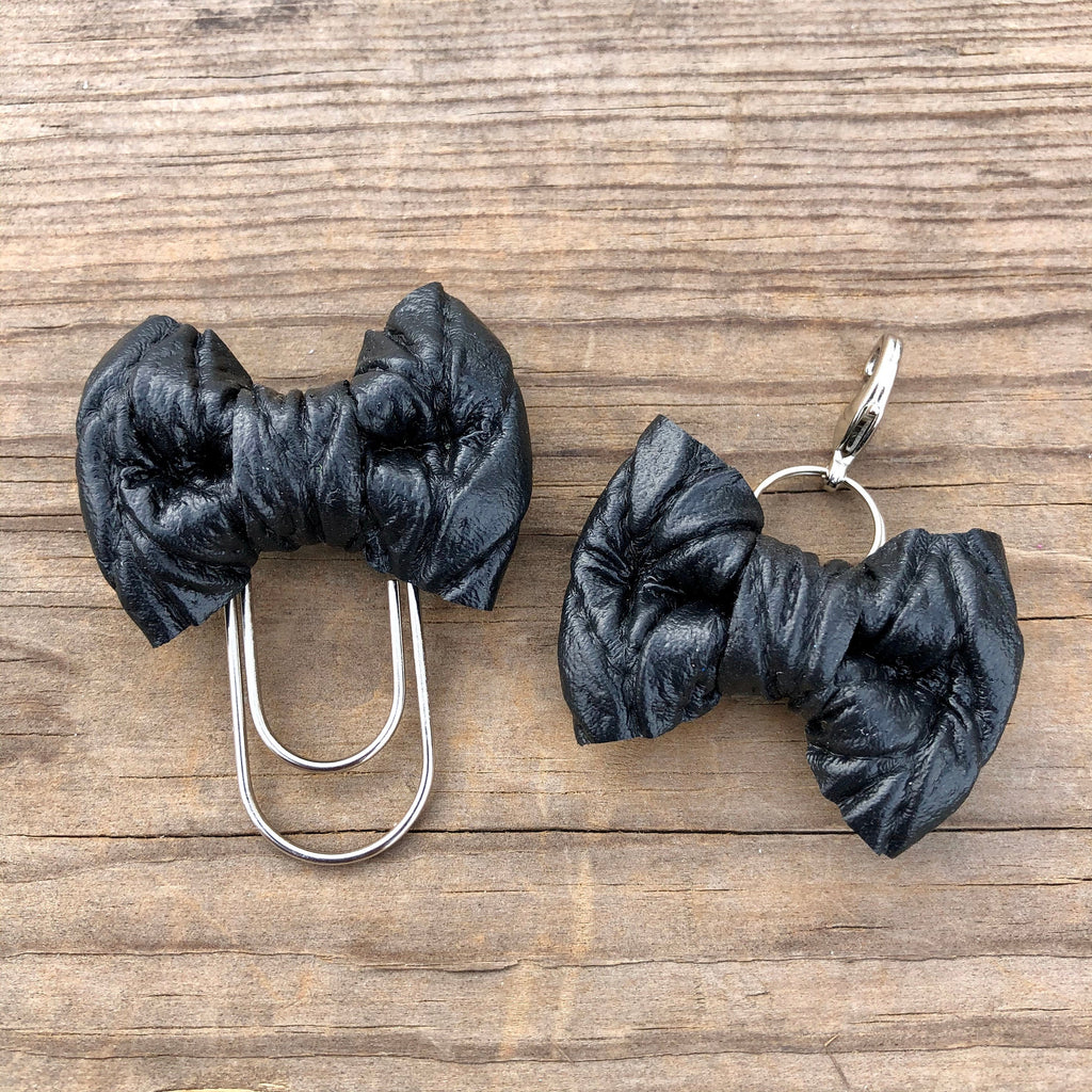 LILY BOW Black Cable Knit Bow Paperclip or Bow Clasp