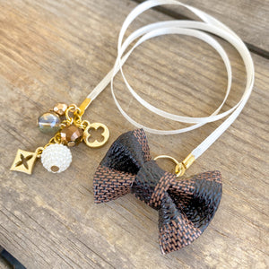 PLANNER TAIL or BOOKMARK LILY BOW Dame Chic Collection Brown Damier Bow