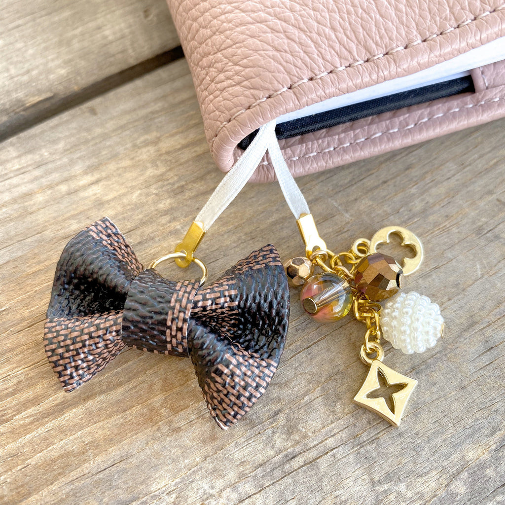 PLANNER TAIL or BOOKMARK MINI BOW Dame Chic Collection Brown Damier Bow