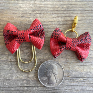 MINI BOW Dame Chic Collection Red Damier Bow Paperclip or Bow Clasp