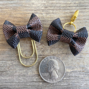 MINI BOW Dame Chic Collection Brown Damier Bow Paperclip or Clasp