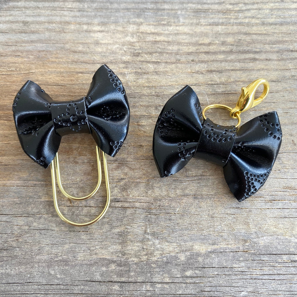MINI BOW Dame Chic Collection Black Empreinte Bow Paperclip or Bow Clasp