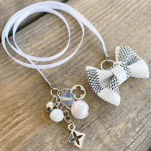 PLANNER TAIL or BOOKMARK LILY BOW Dame Chic Collection White Damier Bow