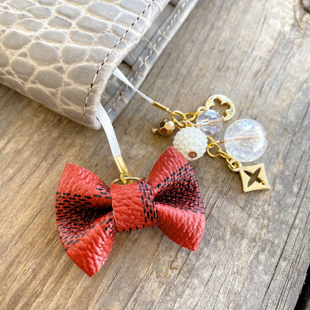PLANNER TAIL or BOOKMARK LILY BOW Dame Chic Collection Red Damier Bow