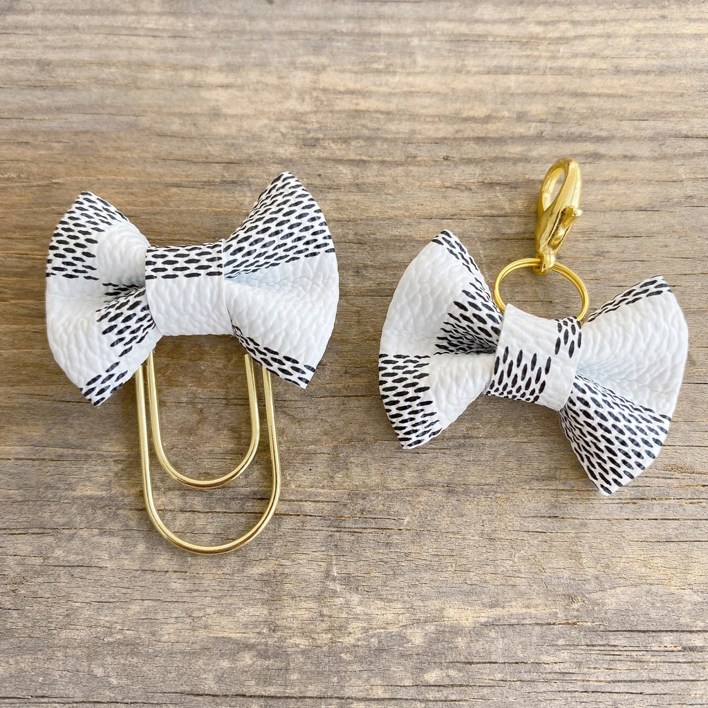 MINI BOW Dame Chic Collection White Damier Bow Paperclip or Bow Charm