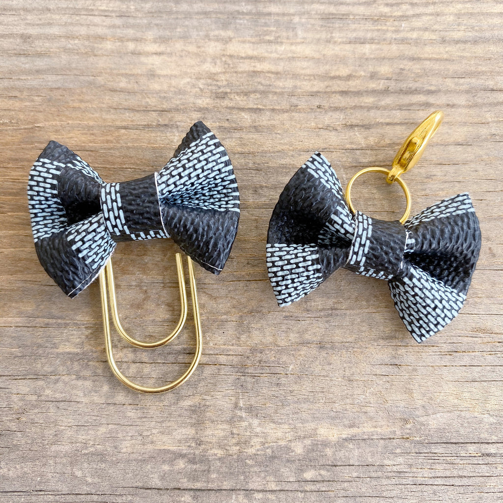 MINI BOW Dame Chic Collection Soft Sky Damier Bow Paperclip or Bow Clasp