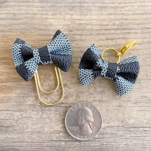 LILY BOW Dame Chic Collection Soft Sky Damier Bow Paperclip or Bow Clasp