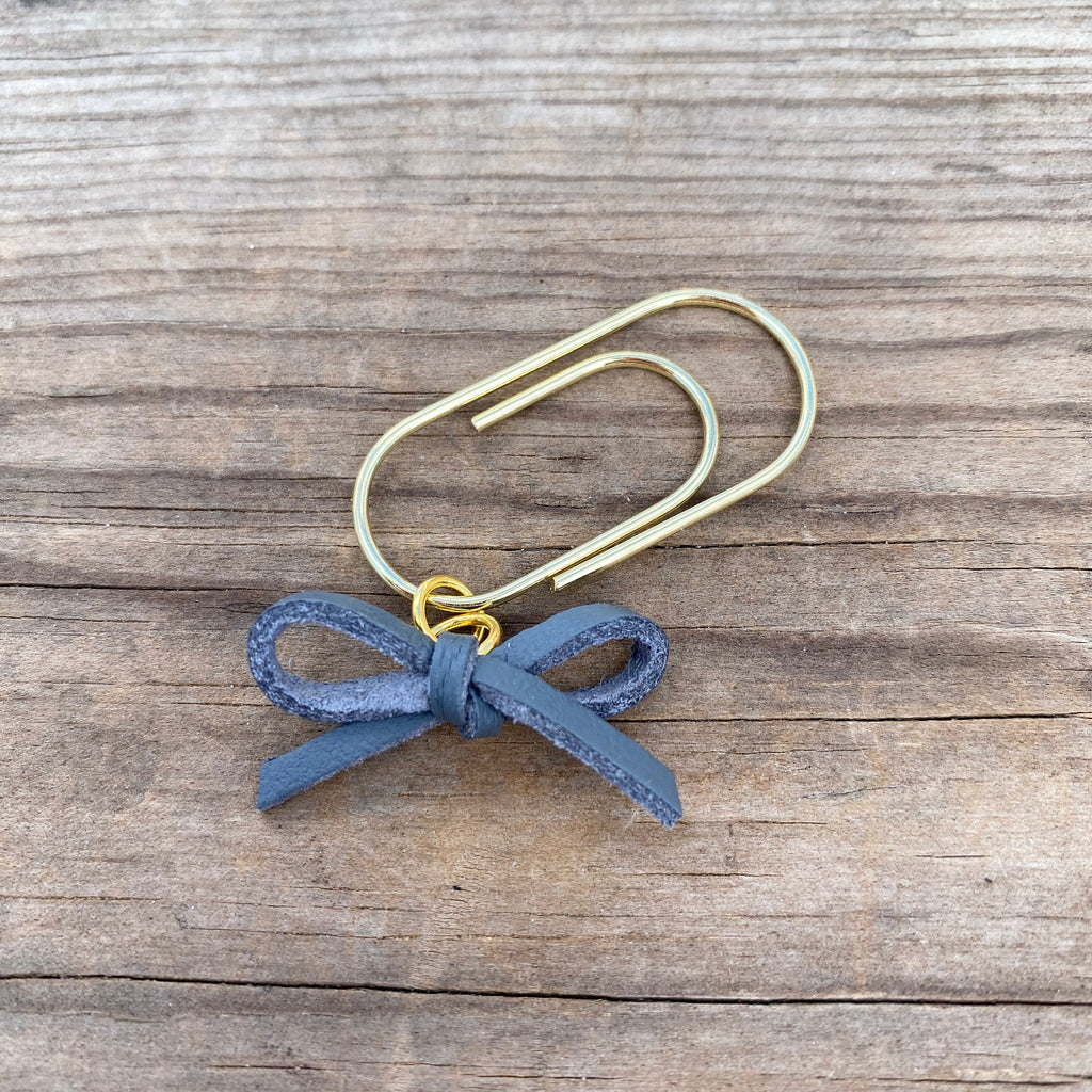 LEATHER BOW DANGLE Grey Faux Suede Paperclip
