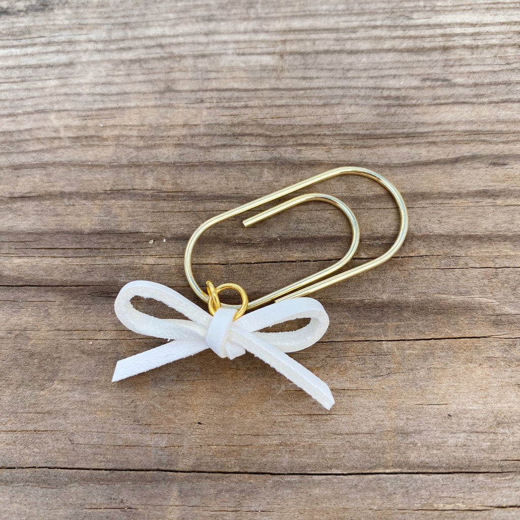 LEATHER BOW DANGLE Ivory Faux Suede Leather Paperclip