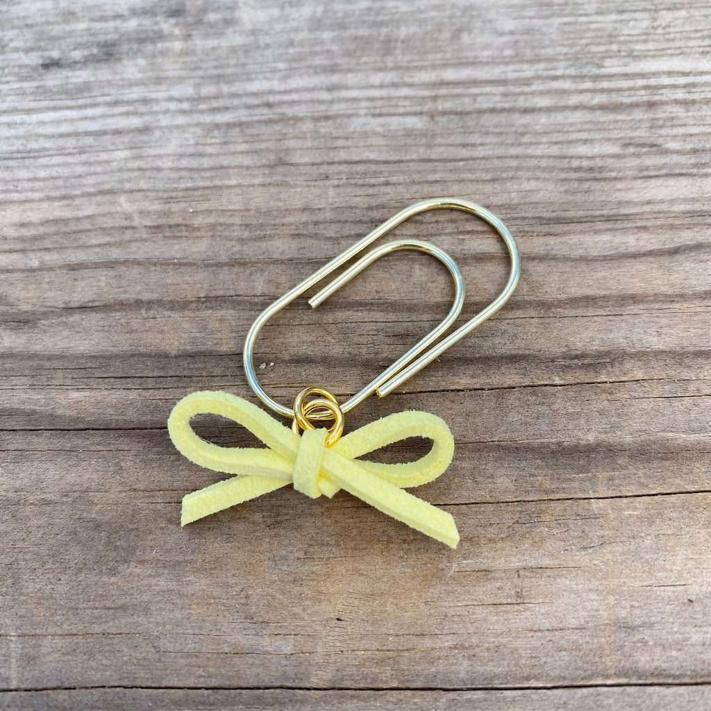 LEATHER BOW DANGLE Spring Yellow Faux Suede Paperclip