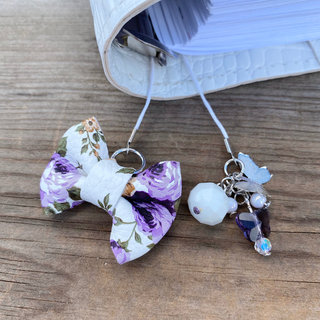 PLANNER TAIL or BOOKMARK MINI BOW Purple Floral Bow