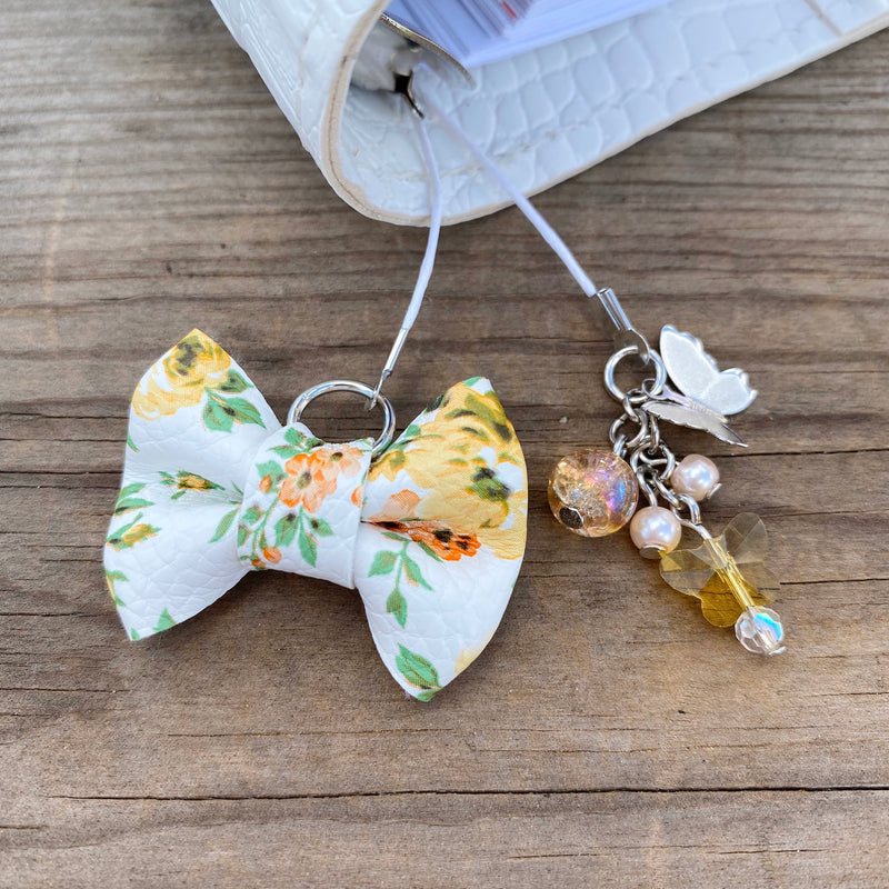 PLANNER TAIL or BOOKMARK MINI BOW Yellow Floral Bow
