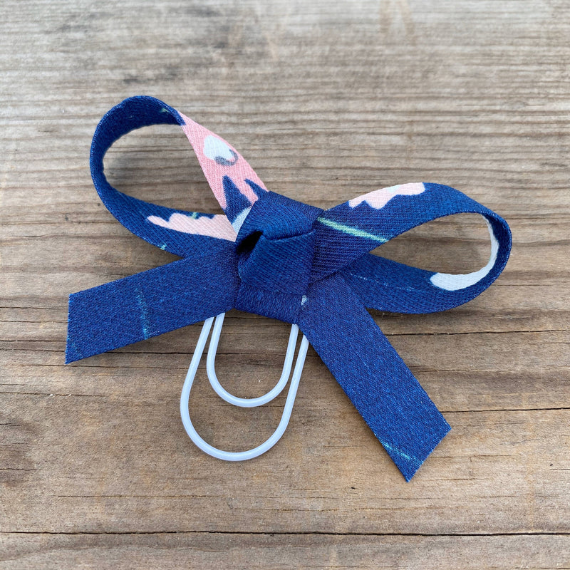 LOLA BOW Navy Blue Floral Fabric Bow Paperclip