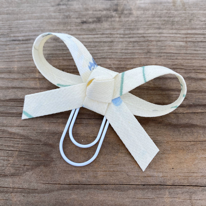 LOLA BOW Pale Yellow Floral Fabric Bow Paperclip