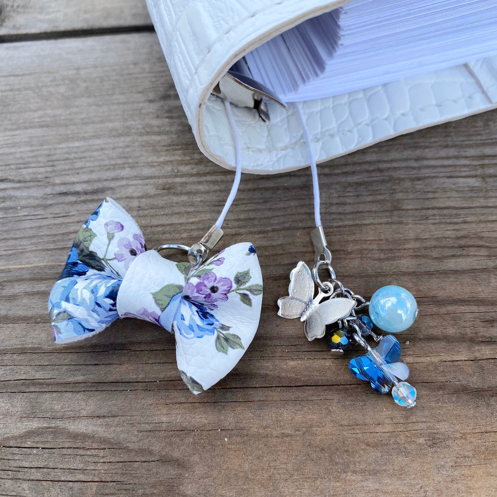 PLANNER TAIL or BOOKMARK MINI BOW Blue Floral Bow