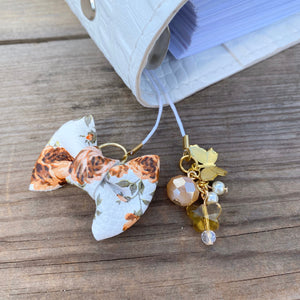 PLANNER TAIL or BOOKMARK MINI BOW Brown Floral Bow