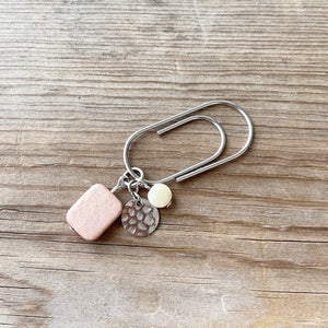 CHARM DANGLE Pale Pink Wood Bead x Hammered Metal Circle Paperclip