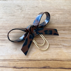 LOLA BOW Coffee Leopard Faux Leather Bow Paperclip