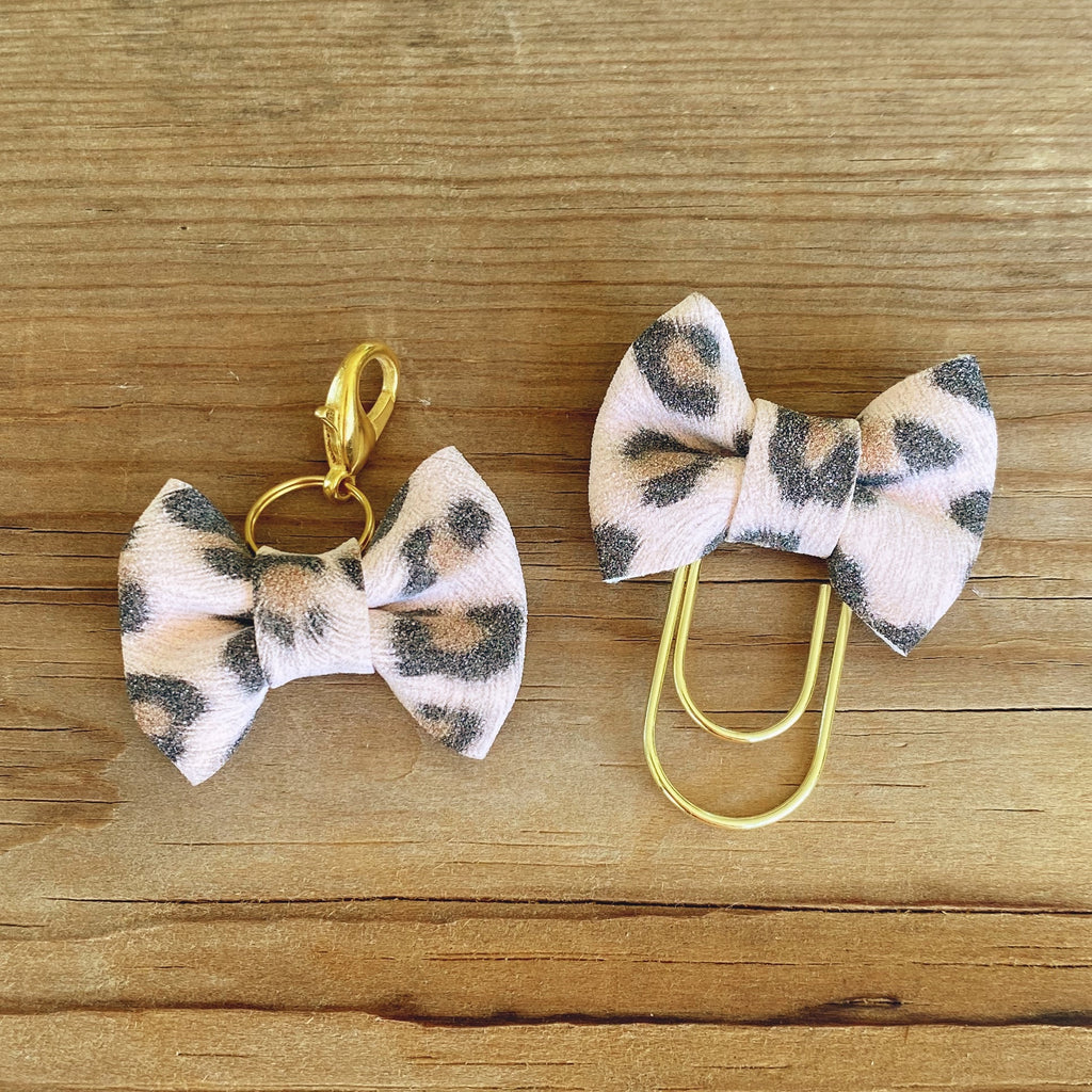 MINI BOW Blush Leopard Bow Paperclip or Bow Clasp