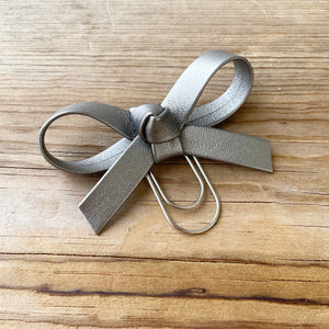 LOLA BOW Gunmetal Faux Leather Bow Paperclip