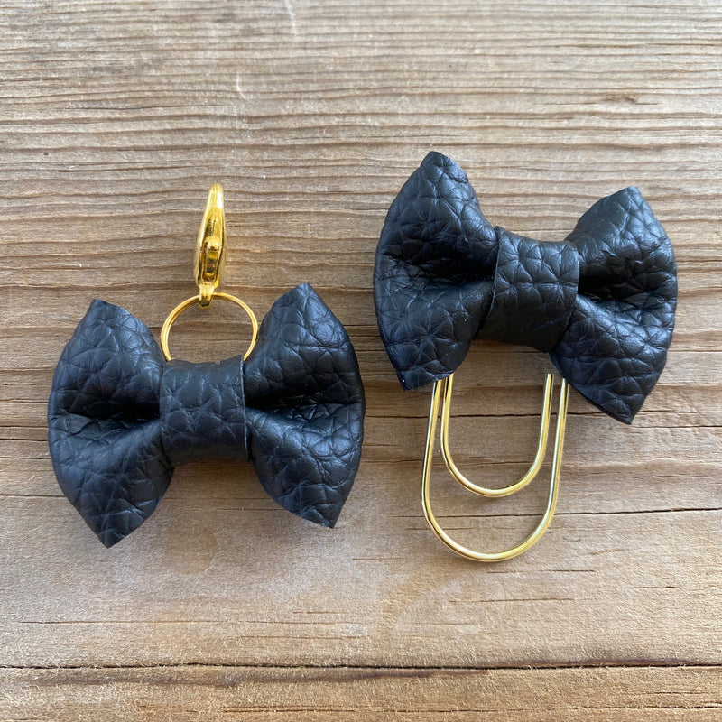 MINI BOW Black Bow Paperclip or Bow Clasp