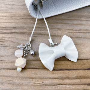 PLANNER TAIL or BOOKMARK LILY BOW Tone on Tone White Leopard