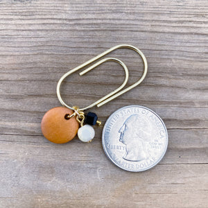 CHARM DANGLE Rust Orange Wood Round Paperclip