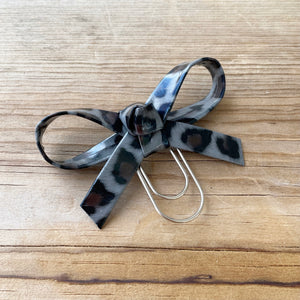LOLA BOW Ash Leopard Faux Leather Bow Paperclip