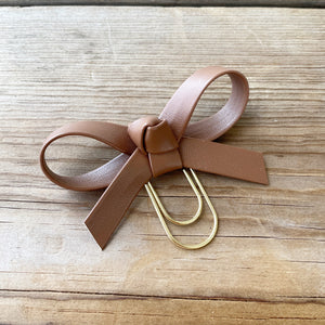 LOLA BOW Toasted Caramel Faux Leather Bow Paperclip