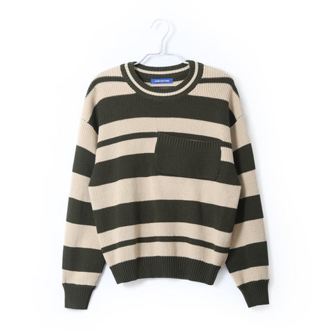 HEAVEY COTTON SWEATER IN OLIVE STRIPED