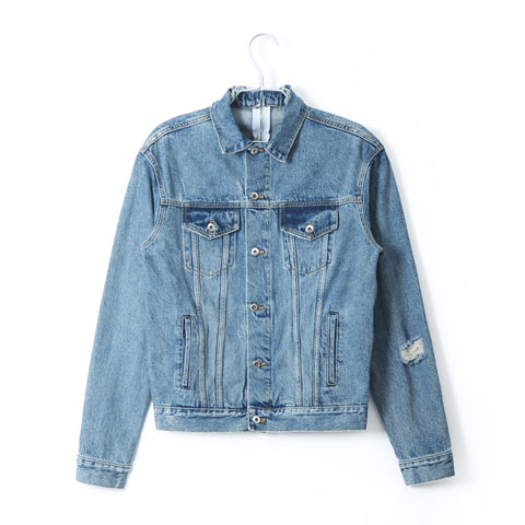 DENIM TRUCKER JACKET WITH NECK ZIPPER
